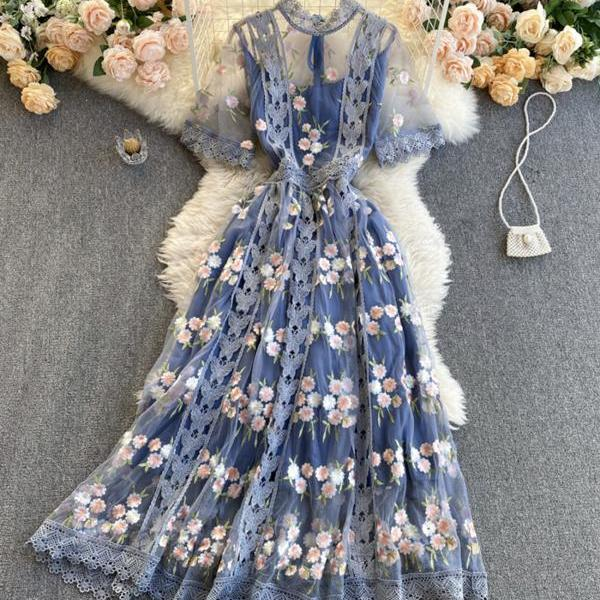 High quality lace short dress blue A line dress