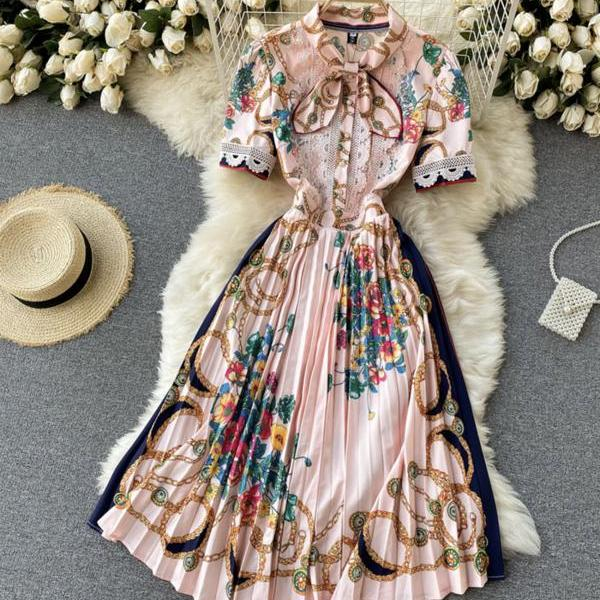 Pink A line floral pattern dress long sleeve dress
