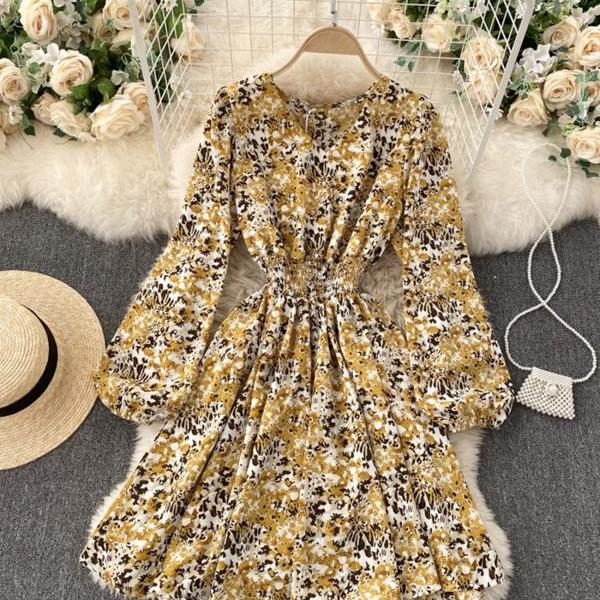 Cute A line v neck floral dress fashion dress
