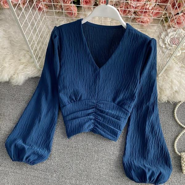 Simple v neck tops long sleeve tops