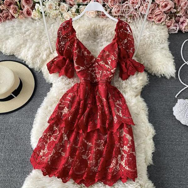 Cute v neck lace short dress red A line dress