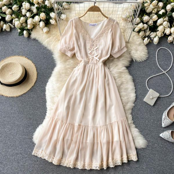 Sweet lace V-neck slim mid-length french gentle chiffon dress